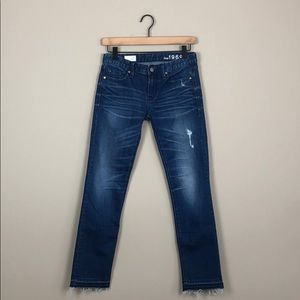 GAP Real Straight Distressed Denim Jeans (Size 24)